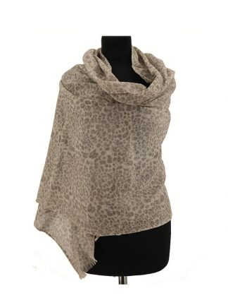 Wollen sjaal met dierenprint a