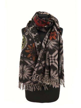 zwarte sjaal met print