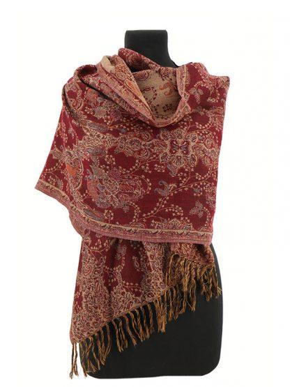 wollen sjaal donkerrood