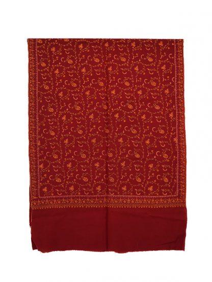 rode cashmere wollen shawl met needlework c