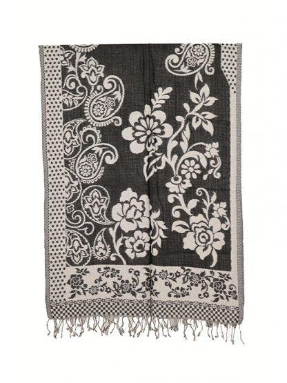 zwart witte wollen sjaal d