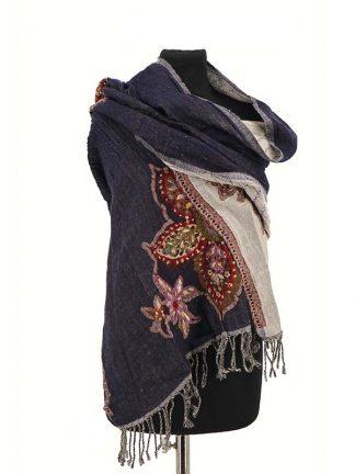 blauwe wollen sjaal