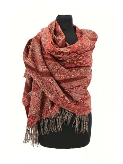 donkerrode wollen sjaal
