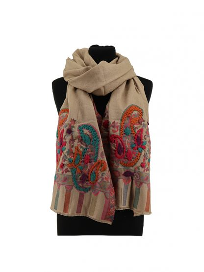 beige jacquard sjaal