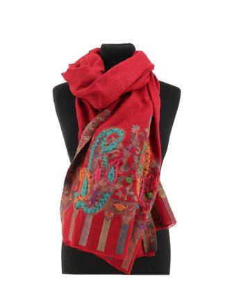 rode wollen jacquard sjaal