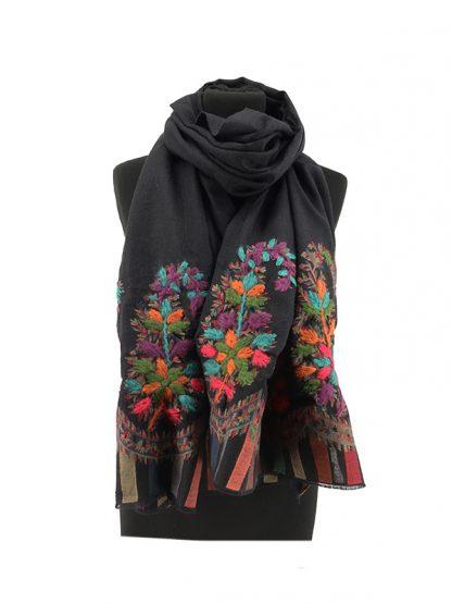 zwarte wollen jacquard sjaal