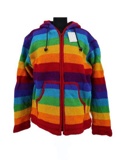 Wollen vest regenboog