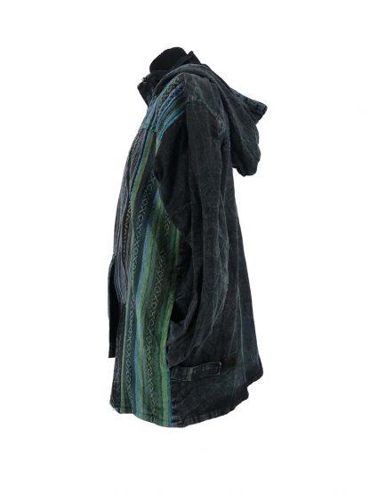 donkerblauwe damesjas met asymmetrische sluiting