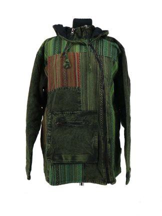 groene jas met asymmetrische sluiting