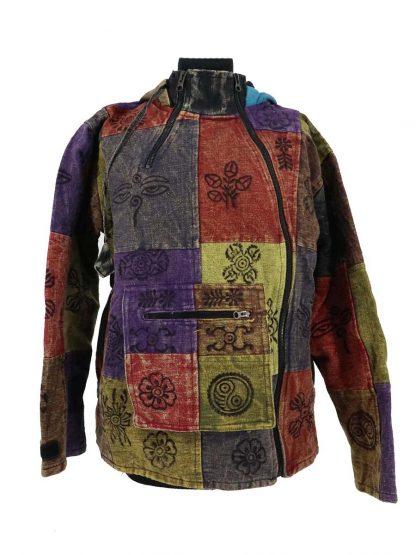 patchwork jas met asymmetrische sluiting