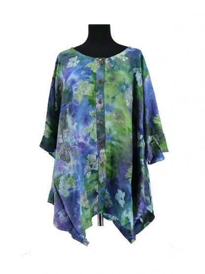batik bloes Paris blauwgroen