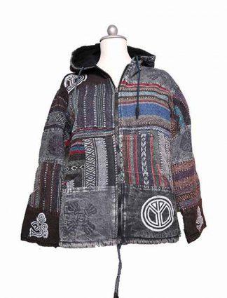 Warme grijze patchwork jas