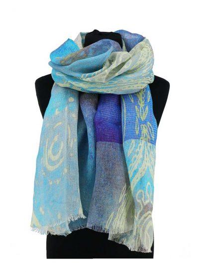 Turqoise blauwe linnen sjaal