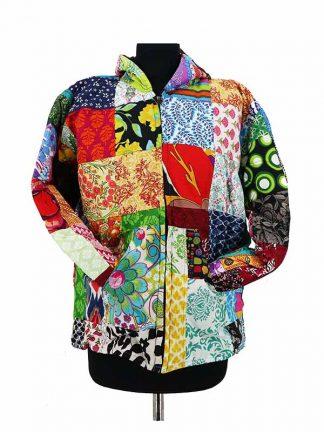 patchwork jasje met capuchon