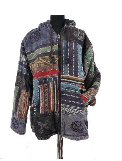 Warme india jas patchwork
