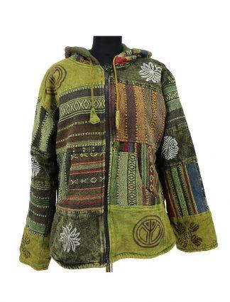 warme patchwork jas met symbolen