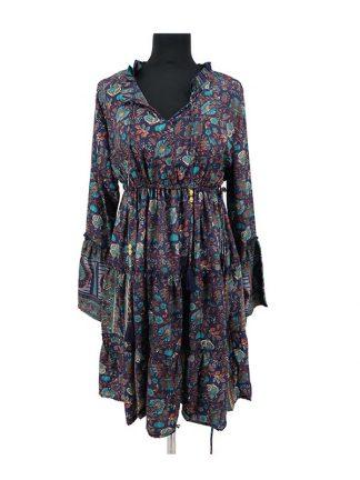 blauw zijden jurkje