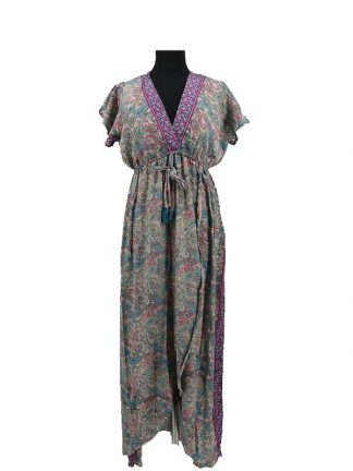 Boho chique lange zijden jurk