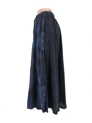 donkerblauwe rok met print