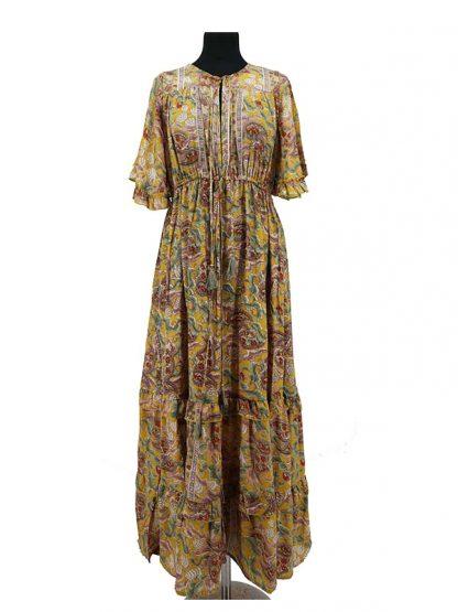 lange zijden jurk okergeel