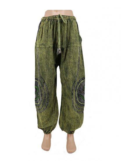 groene stonewashed indiabroek
