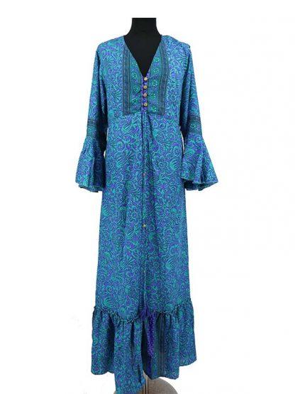 Lange blauwe zijden jurk