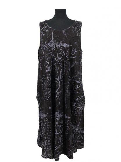 Linnen jurk met print