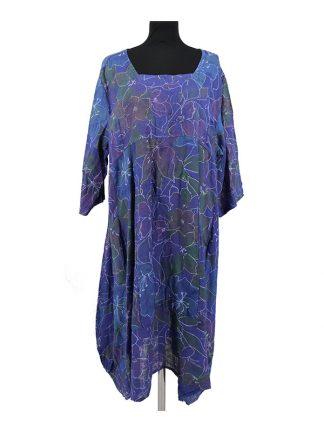 linnen jurk met bloemenprint grote maat