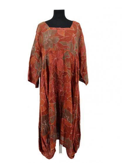 Roestbruine linnen jurk