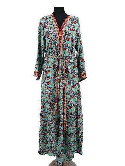 Turqoise zijden kimono