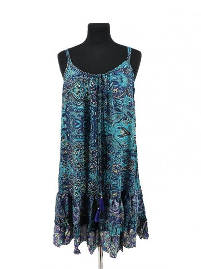 blauw zijden jurkje met spaghettibandjes
