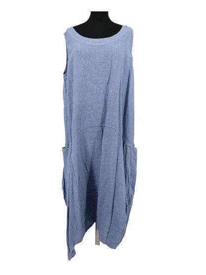 effen blauwe linnen jurk