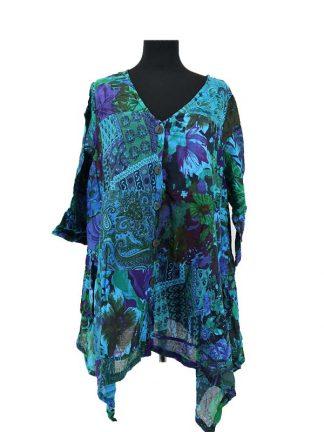 luchtige patchwork bloes