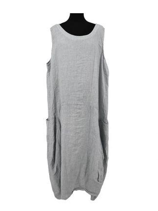 lichtgrijze linnen jurk