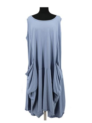 mouwloze blauwe jurk