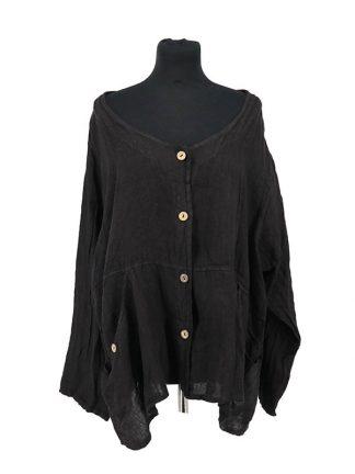 zwart linnen jasje