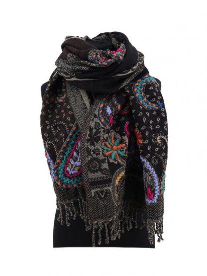 Bruin zwarte kasjmier sjaal wol 2a