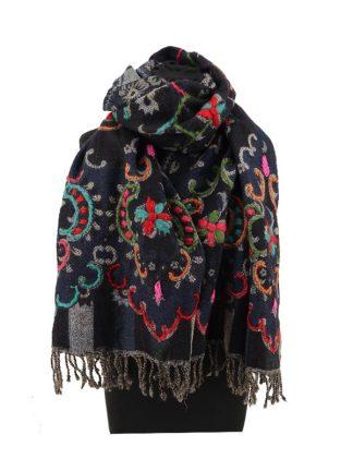 donkerblauwe wollen sjaal