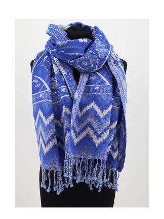 helderblauwe wollen wintersjaal