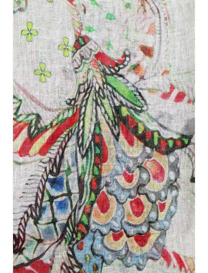 linnen sjaal met bloemmotief