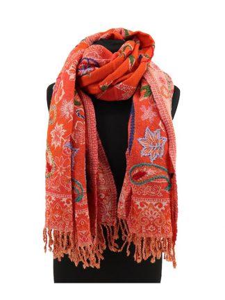 oranje wollen sjaal