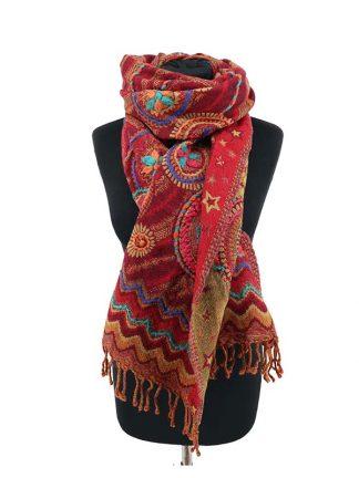 rode wollen kasjmir sjaal