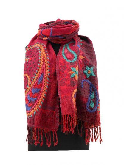 Rode wollen kasjmier shawl