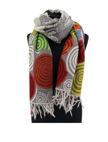grijze wollen sjaal met rondjes