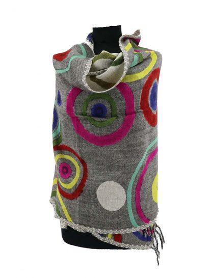 wollen shawl grijs wit
