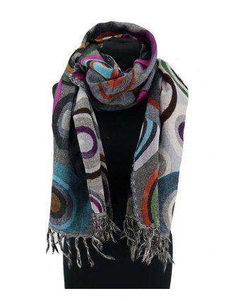donkergrijze wollen shawl