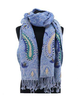 Zachtblauwe wollen kasjmier sjaal